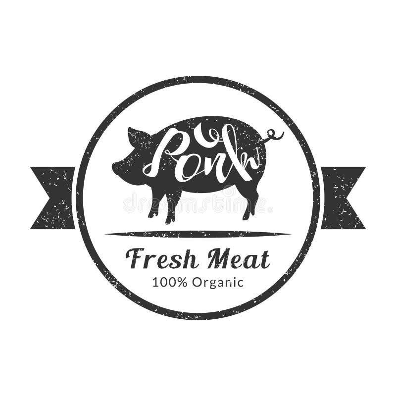 Organisch Vers Vlees, Retro Vee Logo Template, Kenteken van de Premiekwaliteit met Varken voor Slachterij, Vleeswinkel, die verpa vector illustratie