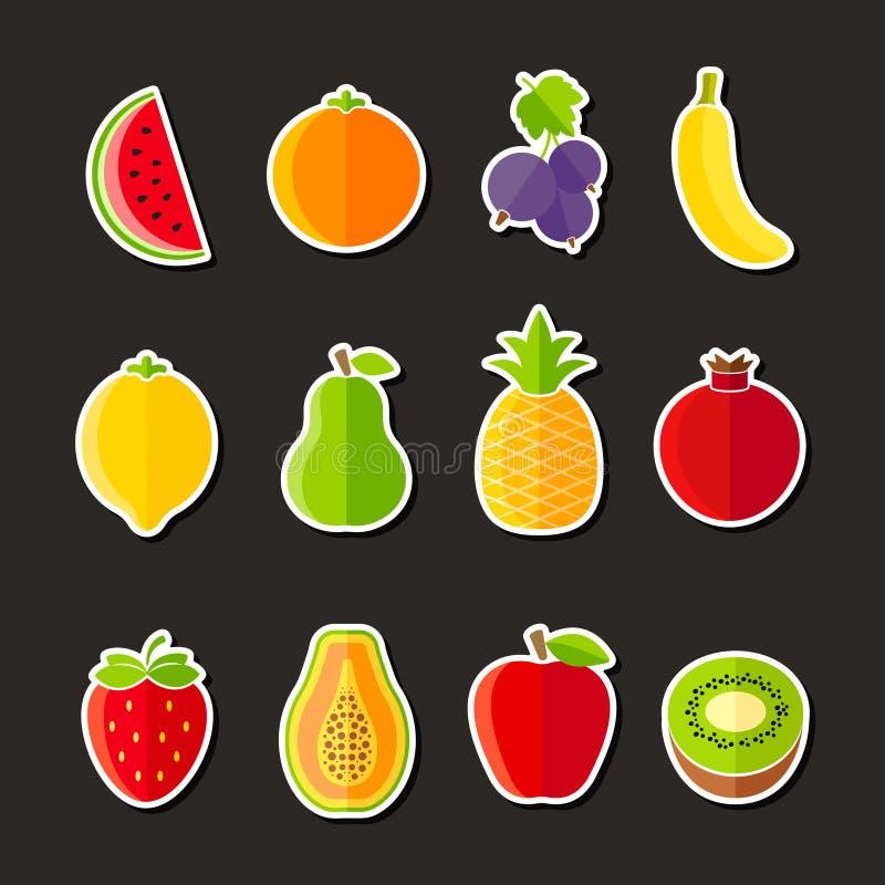 Organisch verse vruchten en bessenpictogrammen vlak ontwerp vector illustratie