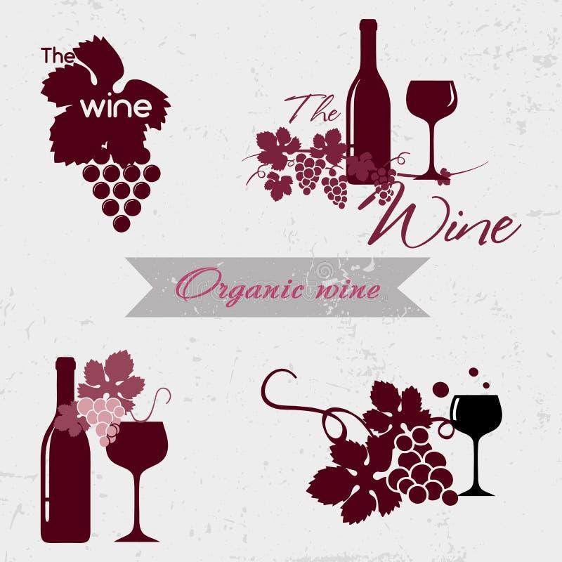 Organisch wijnembleem vector illustratie