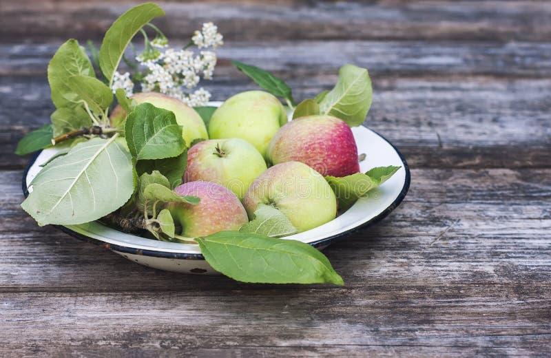 Organische appelen op houten lijst stock afbeelding