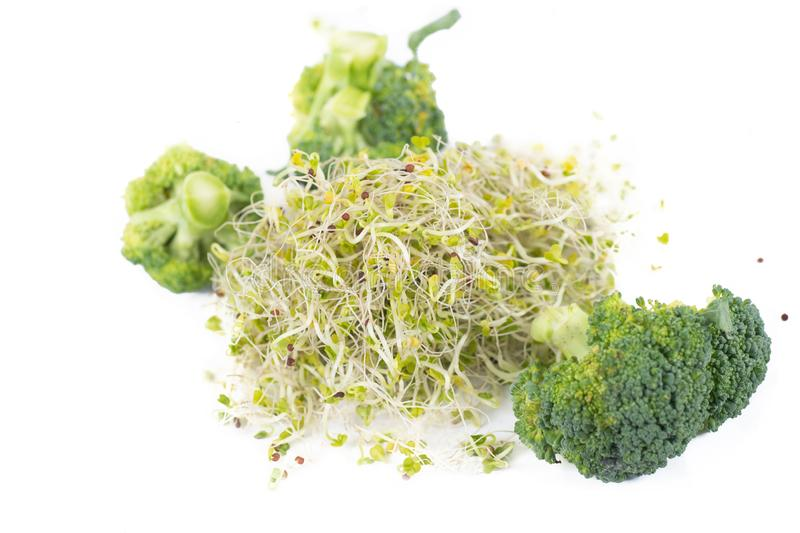 Organische Brokkoli-Sprösslinge und Blumensträuße stockfotos
