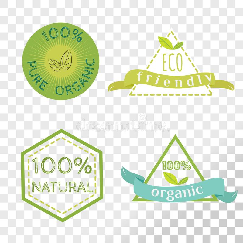 Organische die etiketteninzameling op transparante achtergrond wordt geïsoleerd vector illustratie