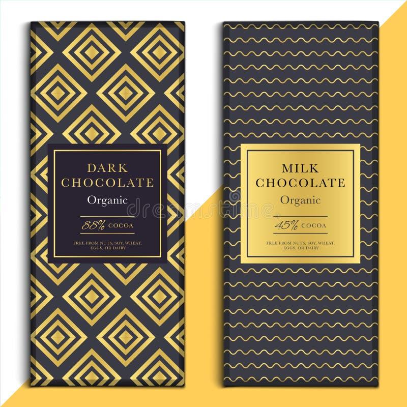 Organische Dunkelheit und Milchschokoladestangendesign Choco-Verpackung vect lizenzfreie abbildung