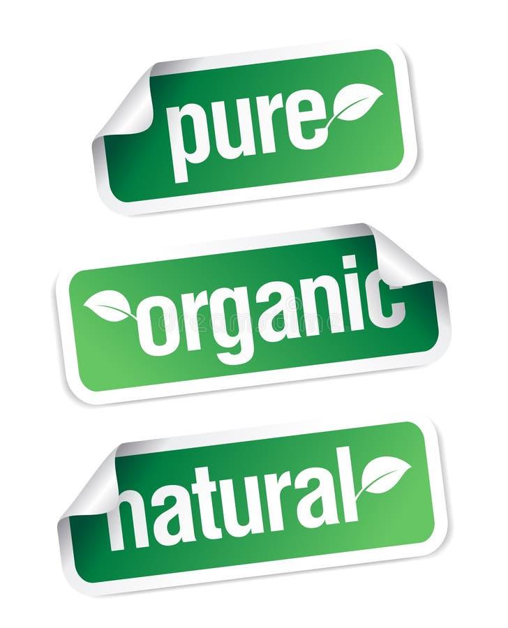 Organische en natuurlijke stickers. royalty-vrije illustratie