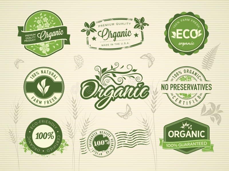 Organische etiketten royalty-vrije illustratie