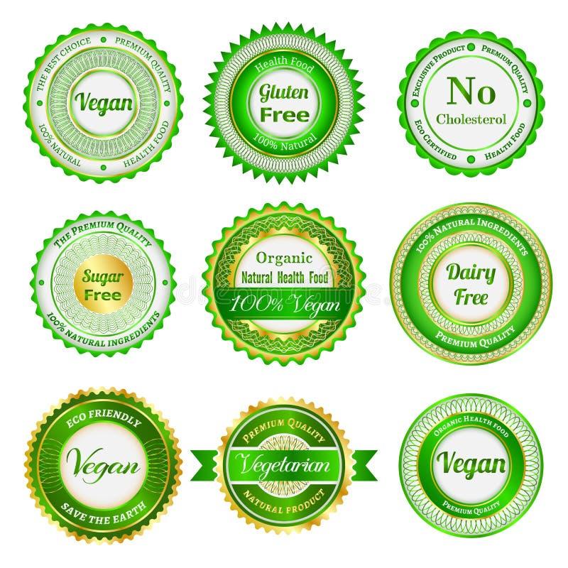 Organische etiketten, kentekens en stickers royalty-vrije illustratie