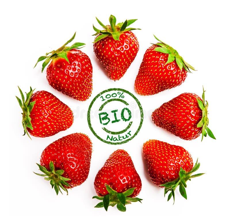 Organische Geïsoleerde aardbeien royalty-vrije stock foto