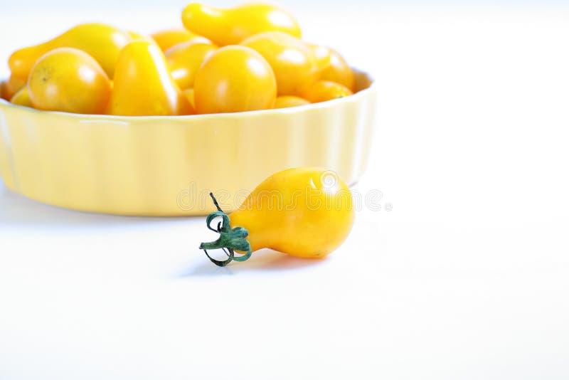 Organische gelbe Birnentomaten lizenzfreies stockbild