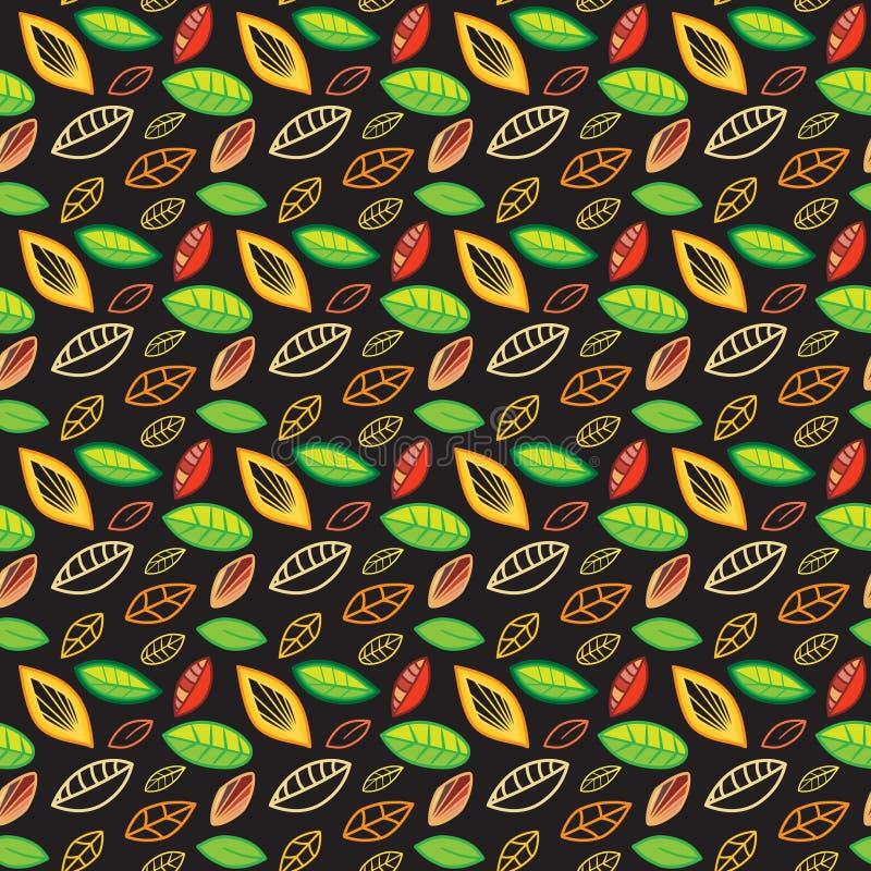 Organische kleurige gestileerde herfstbladeren in een naadloos patroon achtergrond, stof, textiel, seizoensgebonden royalty-vrije illustratie