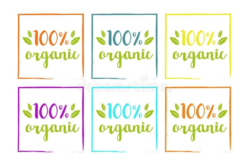 100% organische kleurrijke reeks voor Web en druk Hand getrokken typografie op kleurrijke bladeren stock illustratie