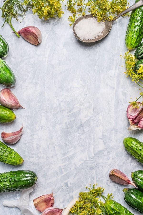 Organische komkommers en ingrediënten voor het inleggen op lichte houten achtergrond, hoogste mening stock foto