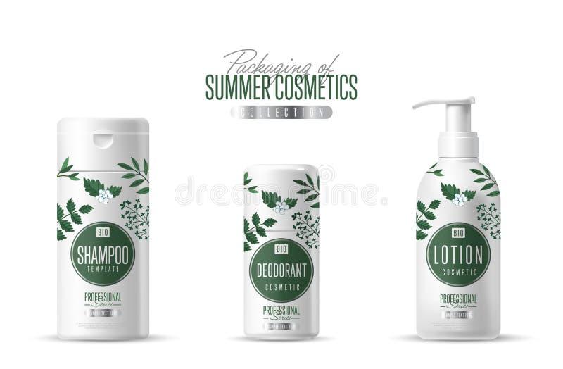 Organische kosmetische merkmalplaatje verpakkingsreeks stock illustratie