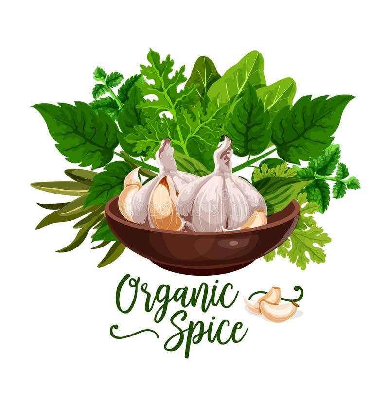 Organische kruiden en de kokende affiche van het kruidingrediënt vector illustratie