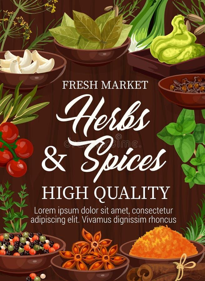 Organische kruiden en kruiden, kruidenmarkt royalty-vrije illustratie