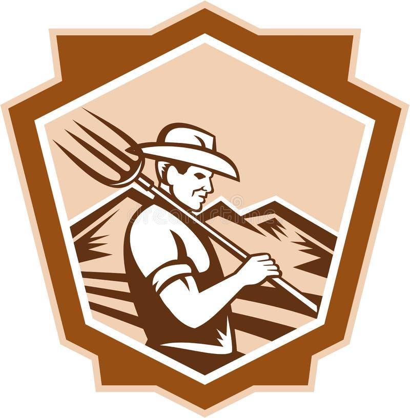 Organische Landbouwer Farm Pitchfork Shield royalty-vrije illustratie