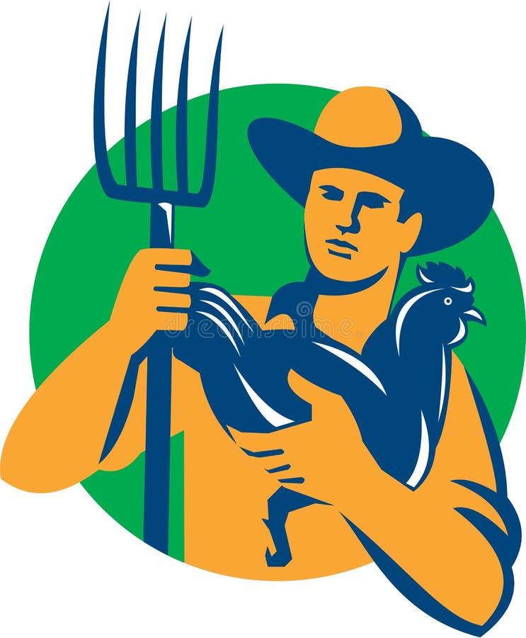 Organische Landbouwer Pitchfork Chicken Retro vector illustratie