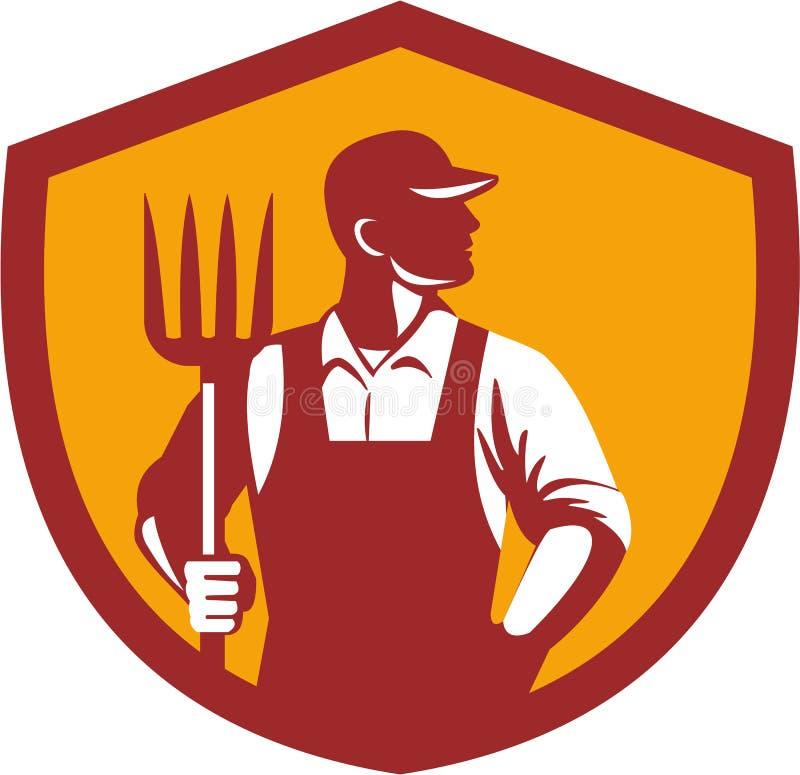 Organische Landbouwer Pitchfork Crest Retro stock illustratie