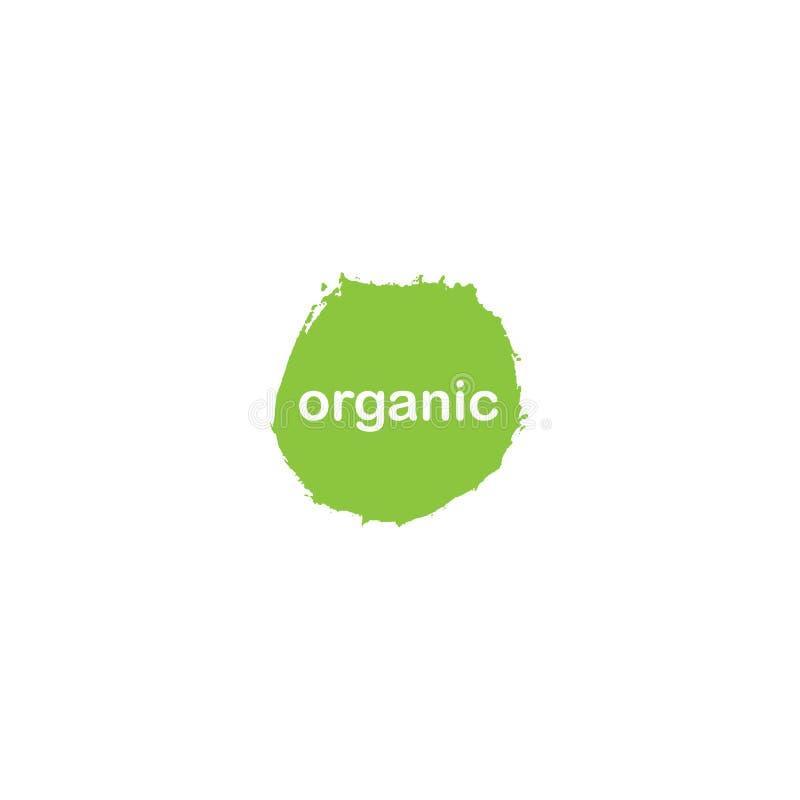 Organische Logoikone, Aufkleber, Umbau gesunder Nahrungsmittelbioausweis, roh, strenger Vegetarier, gesundes Nahrungsmittelzeiche stock abbildung