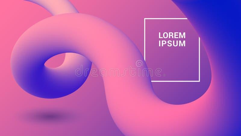 Organische plastic achtergrond met vloeibare 3D vormen In abstract gradiëntmalplaatje royalty-vrije illustratie