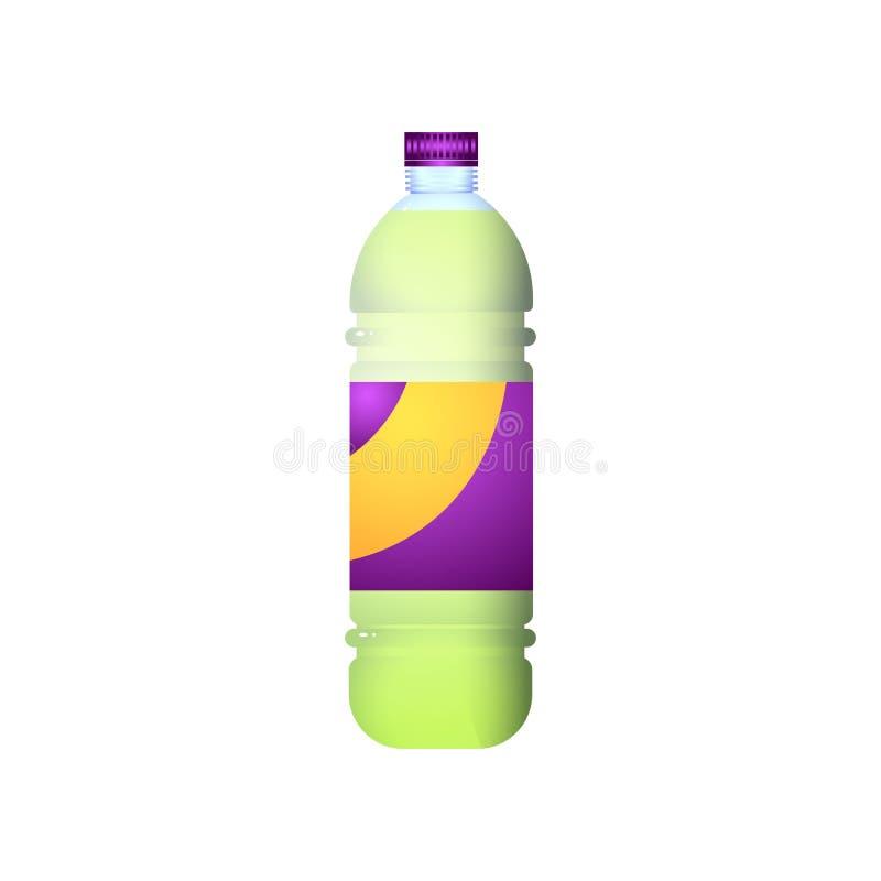 Organische plastic fles van zoete smakelijke sodadrank stock illustratie
