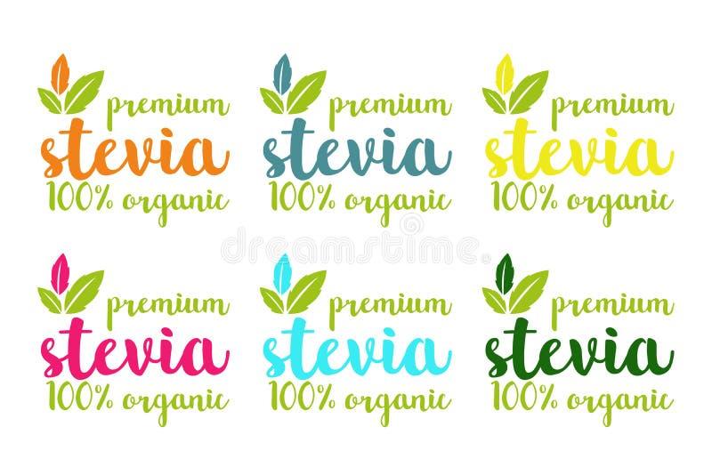 100% organische premiunstevia of de zoete reeks van het grasembleem vector illustratie