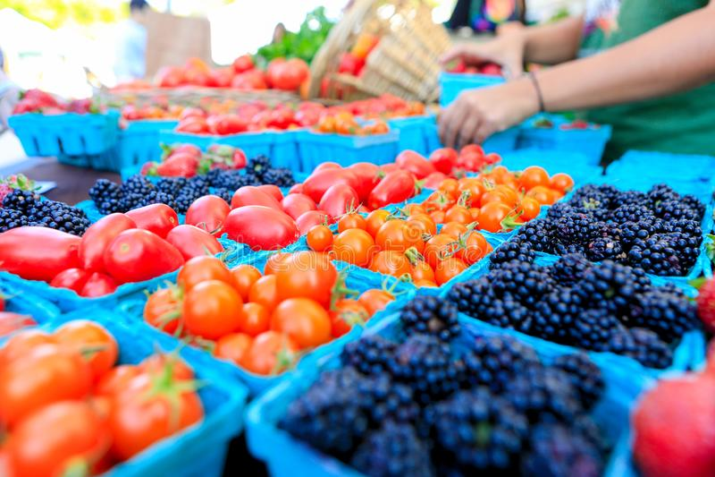 Organische rode tomaten bij een Landbouwers` s Markt stock foto's