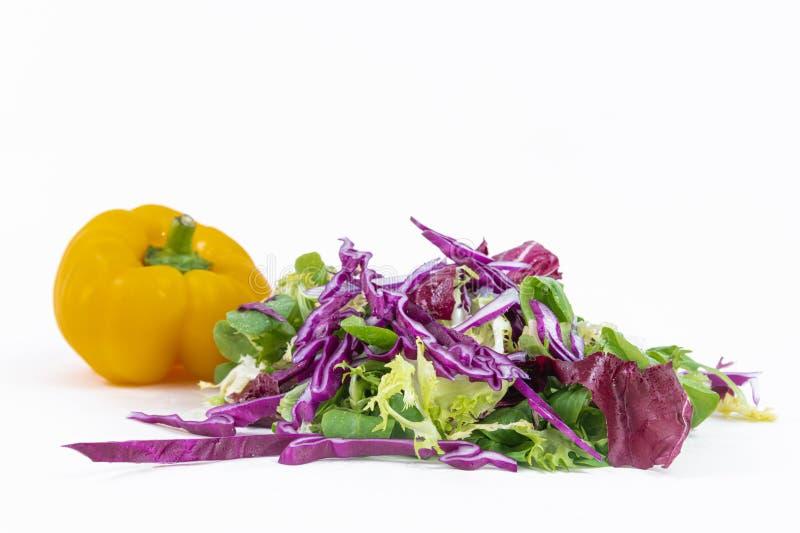 Organische salade van verse groenten en vers geoogste paprika stock afbeelding