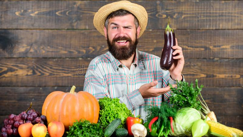 Organische Sch?dlingsbek?mpfung Mann mit h?lzernem Hintergrund des Bartes Landwirt mit organischem Gem?se Ausgezeichnete Qualität lizenzfreie stockbilder