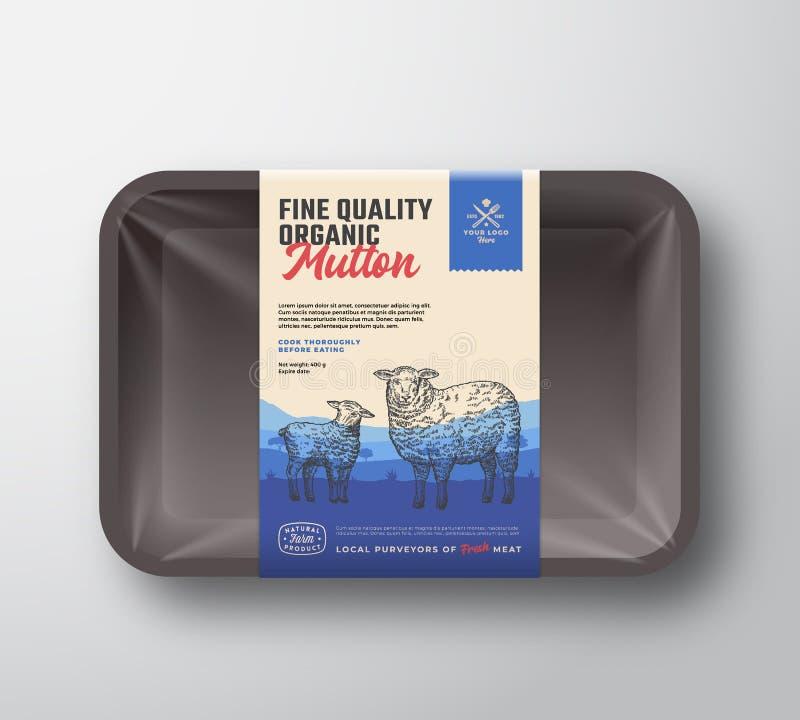 Organische Schafe der guten Qualität Abstraktes Vektor-Fleisch Plastik-Tray Container mit Zellophan-Abdeckung Vertikale Verpackun vektor abbildung