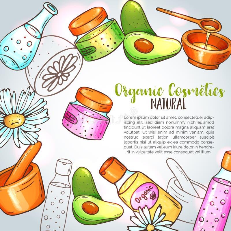 Organische schoonheidsmiddelenillustratie Hand getrokken kuuroord en aromatherapy elementen Beeldverhaalschets van natuurlijk sch stock illustratie