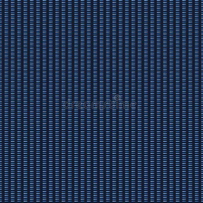 Organische Seilstreifen der Indigoblau-Zusammenfassung Nahtloser Hintergrund des Vektormusters Handgezogene vertikale Zeilendarst vektor abbildung
