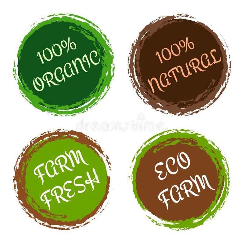 Organische und natürliche Aufkleber - Vektor stellte mit Kreisrahmen ein lizenzfreie abbildung