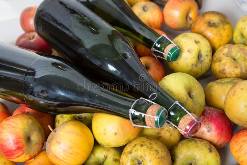 Organische verse appelen met fles de cider van Normandië stock foto's