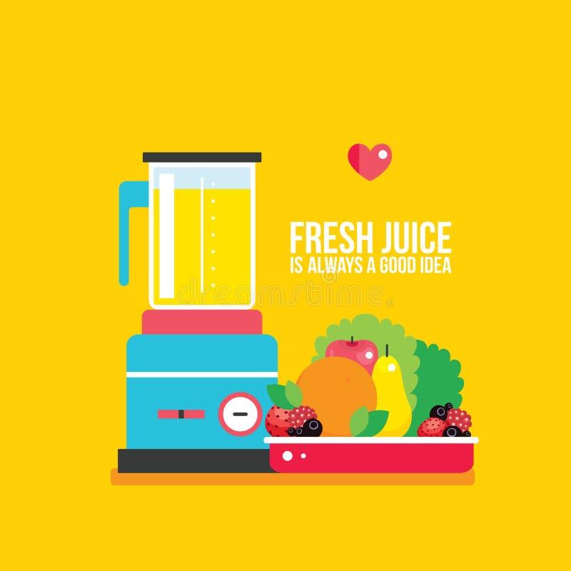 Organische verse voedselvruchten Groentengreens op plaat en Mixer royalty-vrije illustratie
