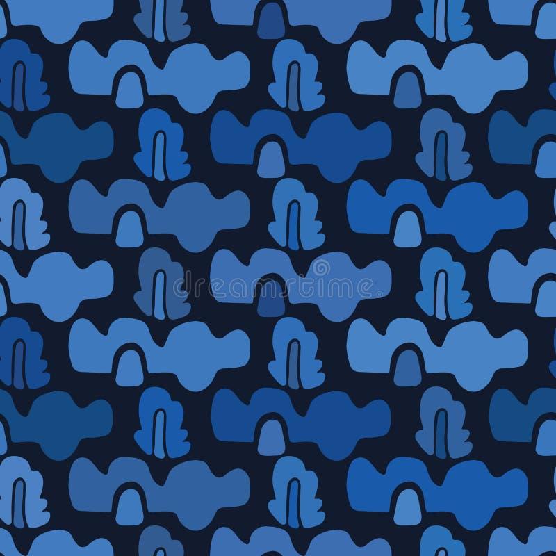Organische Wellen der Indigoblau-Zusammenfassung schnitten Formen heraus Nahtloser Hintergrund des Vektormusters Handpapier, das  stock abbildung