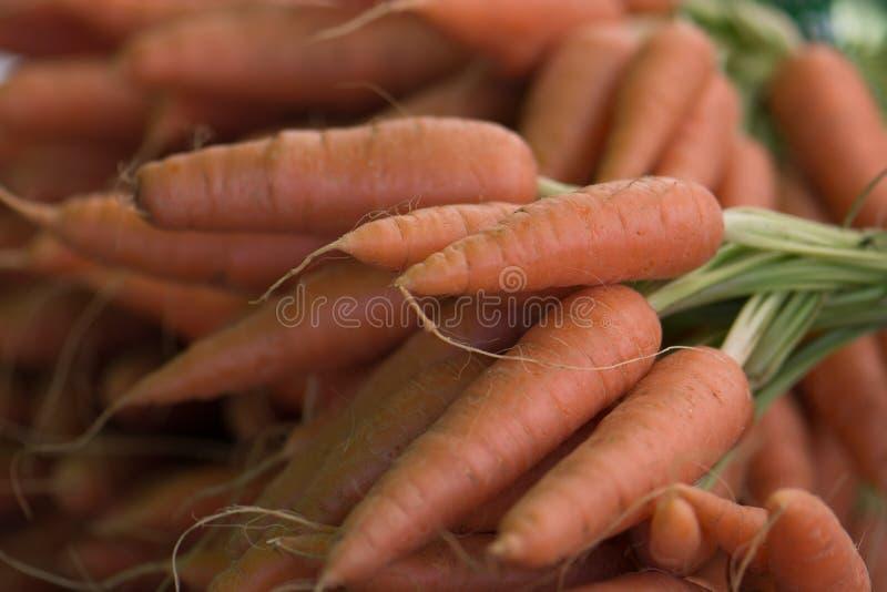Organische Wortelen bij een Landbouwersmarkt stock foto