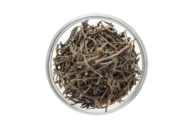 Organischer grüner Tee (Kamelie sinensis) trocknete lange Blätter in der Glasschüssel stockfotografie