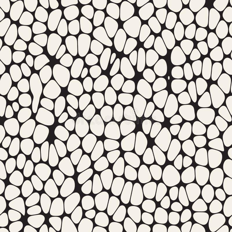 Organischer Irregular gerundete Durcheinander-Formen Vektornahtloses Schwarzweiss-Muster stock abbildung