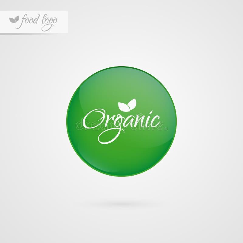 Organischer Kennsatz Lebensmittellogoikone Vektoraufkleberzeichen lokalisiert Illustrationssymbol für Produkt, Verpackung, gesund stock abbildung