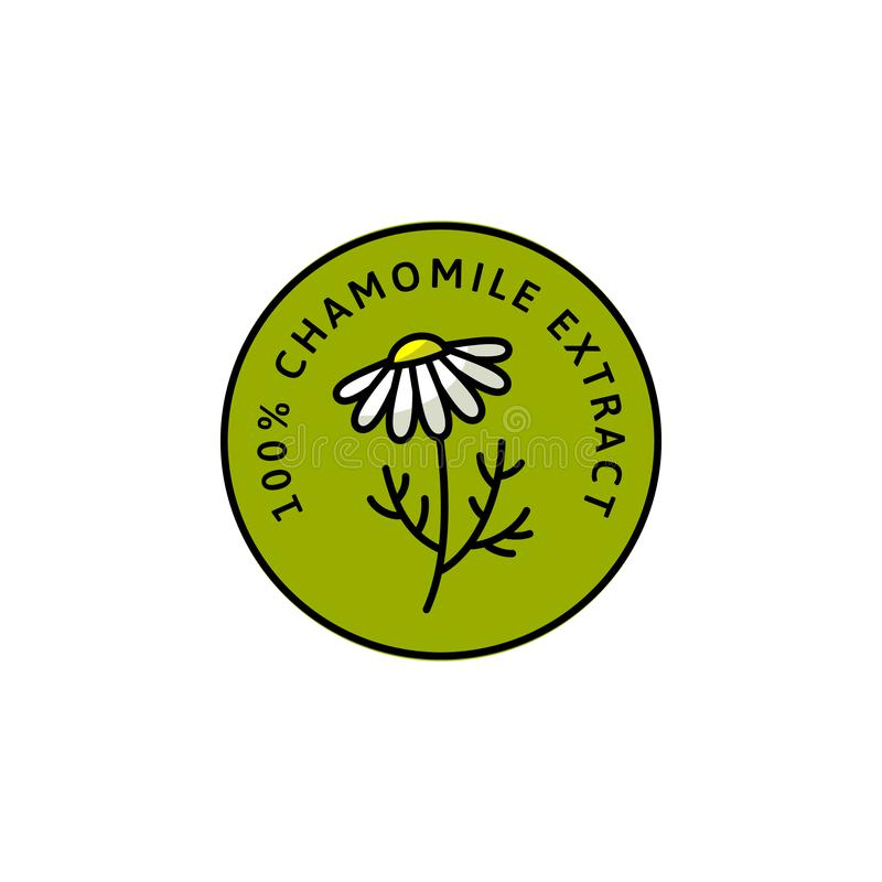 Organischer Kräuterausweis und Ikone der Kamillen-Blume in der linearen Art der Tendenz - Vektor-Grün Logo Emblem der medizinisch vektor abbildung