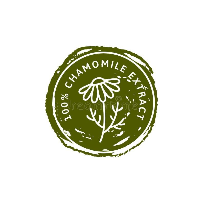 Organischer Kräuterausweis und Ikone der Kamillen-Blume in der linearen Art der Tendenz - Vektor-Logostempel der medizinischen Ka lizenzfreie abbildung