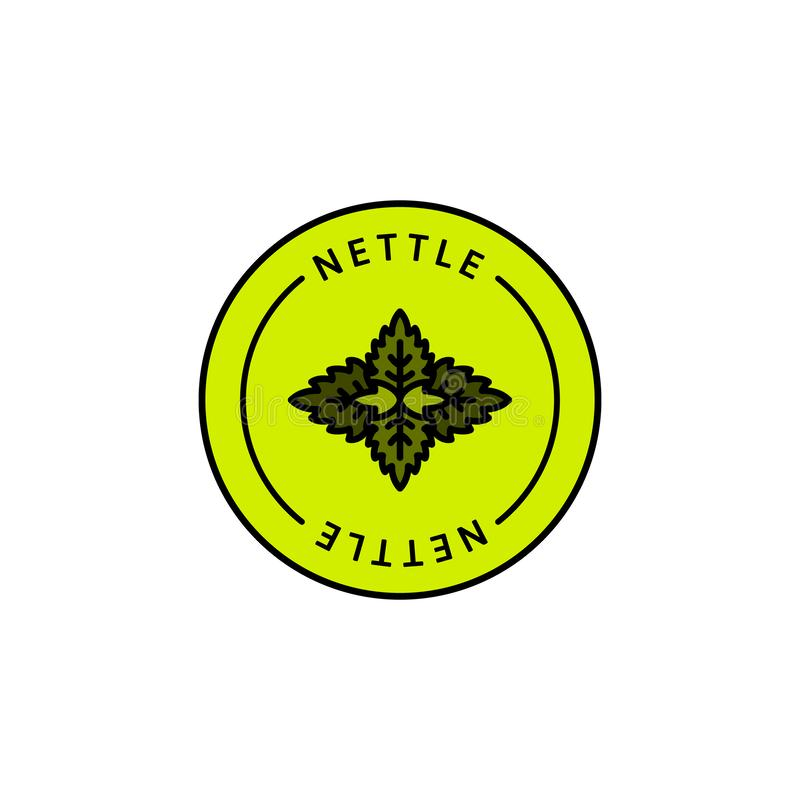 Organischer Kräuterausweis und Ikone des Nesselblattes in der linearen Art der Tendenz - Vektor-Grün Logo Emblem der medizinische stock abbildung