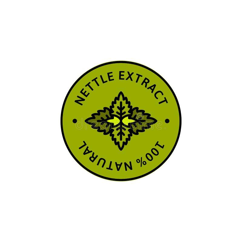 Organischer Kräuterausweis und Ikone Nesselblatt Auszuges in der linearen Art der Tendenz - Vektor-Grün Logo Emblem der medizinis stock abbildung