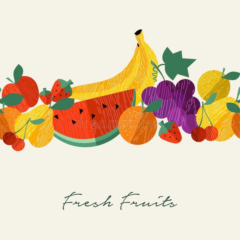 Organischer Menühintergrund der frischen Frucht gesunder Nahrungsmittel lizenzfreie abbildung