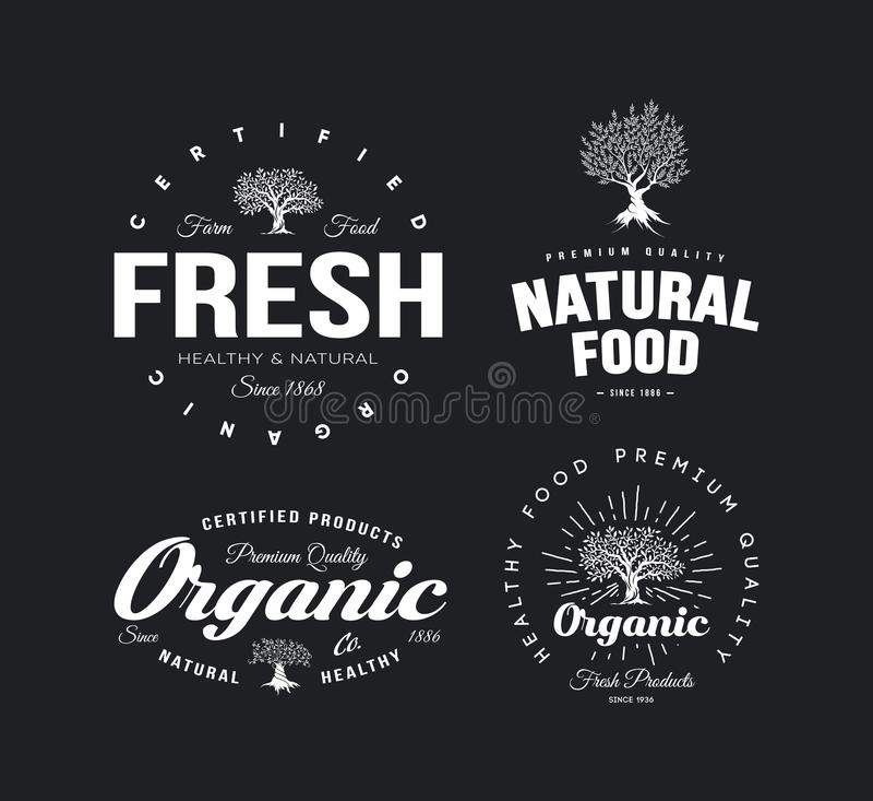 Organischer natürlicher und gesunder Emblemsatz des neuen Lebensmittels des Bauernhofes Retro- vektor abbildung