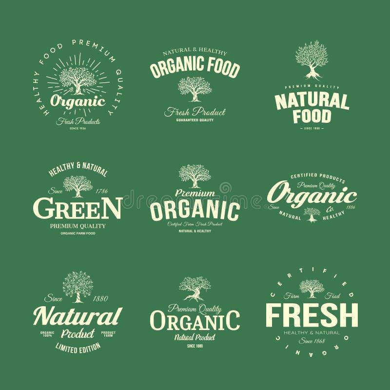 Organischer natürlicher und gesunder Emblemsatz des neuen Lebensmittels des Bauernhofes Retro- lizenzfreie abbildung