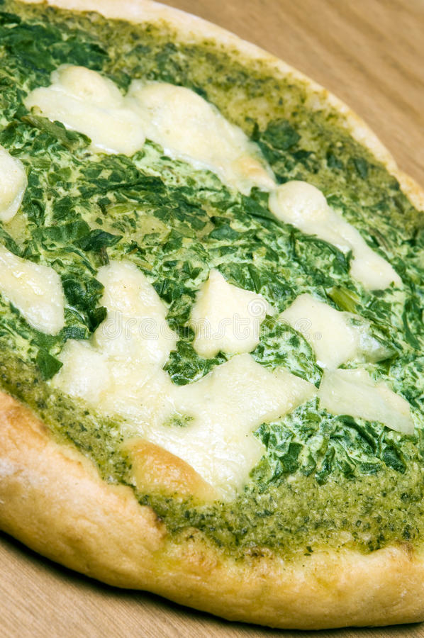 Organischer Pizzaspinatbasilikum pesto Käse lizenzfreies stockbild