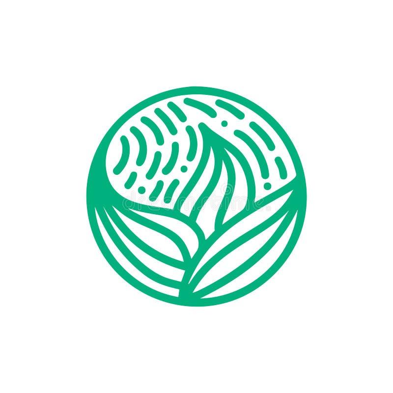 Organisches Betriebsgrün-Blattlogo Rundes Bioemblem in einer linearen Art des Kreises Vektorzusammenfassungsausweis für Entwurf v stock abbildung