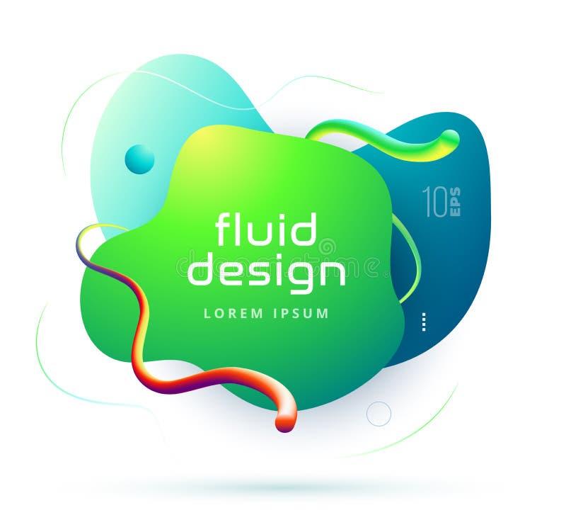 Organisches Design von geometrischen Formen der flüssigen Farbzusammenfassung Flüssige Steigungselemente für minimale Fahne, Logo stock abbildung