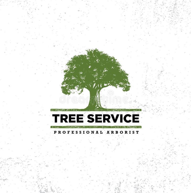 Organisches Eco Zeichen-Konzept Berufsbaumzüchter-Tree Care Services Landschaftsgestaltung Design-der rohen Vektor-Illustration lizenzfreie abbildung